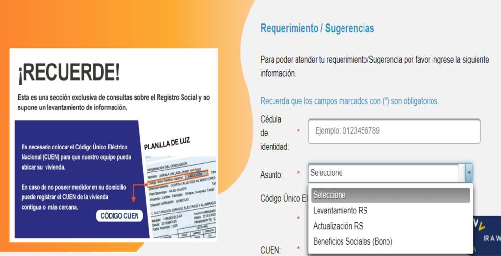 Como solicitar levantamiento de datos del Registro Social RS